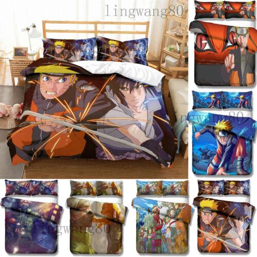 New Naruto0 3D Anime Comforter Bedding set 3PC Duvet Quilt Cover Pillowcase HOT