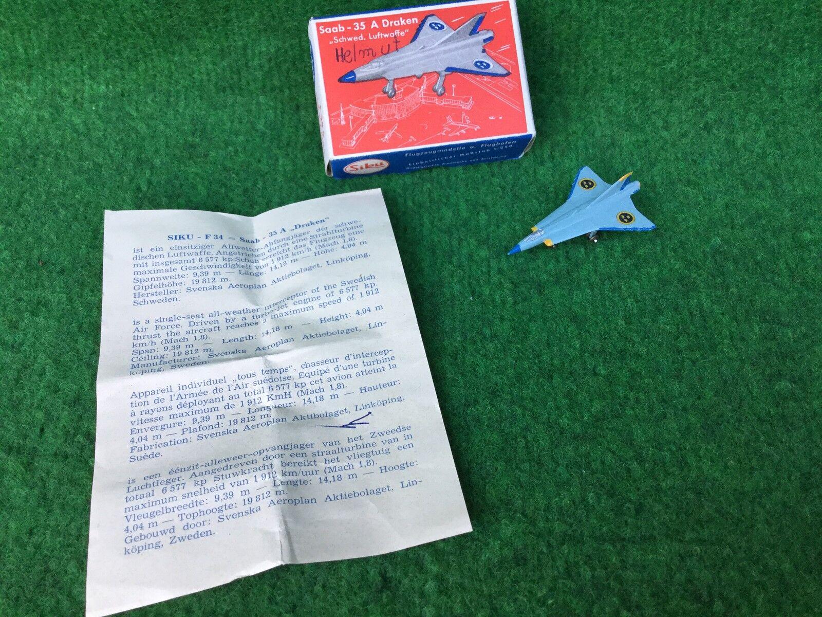 Siku PLASTICA f34a SAAB 35 a Draken OVP