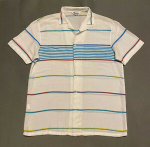 Vintage-Islander-Mens-Shirt-Size-M-Made-in-USA-Striped-Short-Sleeve