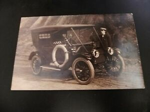 California-CA-Redwoods-Old-Car-on-Road-Real-Photo-RPPC-Cyka-Acme-Tires-Man-Hat