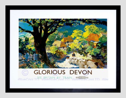 TRAVEL RAILWAY DEVON ENGLAND UK GLORIOUS VILLAGE TREE FRAMED ART PRINT B12X10248