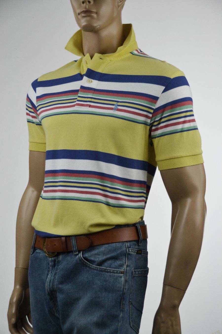 Ralph Lauren Classic Fit Yellow Multi-colord Stripe Mesh Polo Shirt Pony-NWT