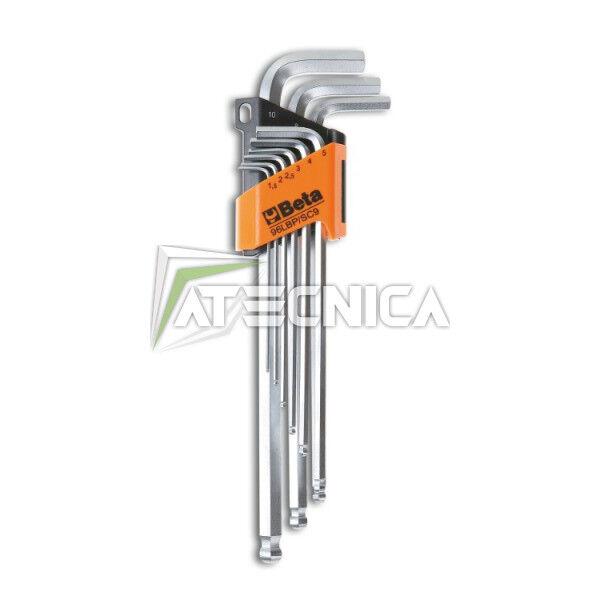 Kit 9 llaves allen puntiagudo redonda extra largo Beta 96LBP SC9 con base de