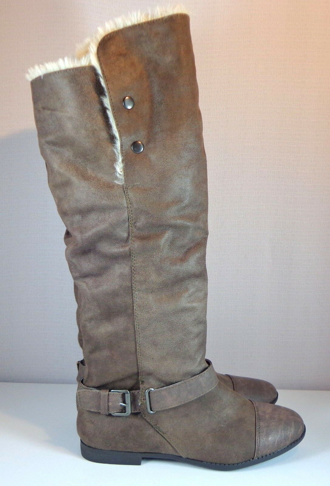 Womens Report Knee High Boots Size 11 M Brown Faux Leather   Fur Fold Over Cuff