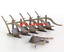 1:12 Scale Model Dollhouse Miniature Garden//Farm Wooden Plough Mini Farm Tools