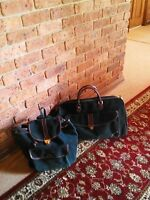 Luggage:2 Luxury Forest Green Textured Suede Pieces-lge Cabin Bag & Backpack