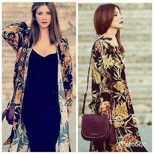 99b344f8c7 Image is loading ZARA-Floral-Leaf-Tropical-Printed-Long-Tunic-Shirt-