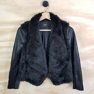 Size-14-BARDOT-Junior-Girls-Faux-Leather-amp-Faux-Fur-Black-Jacket