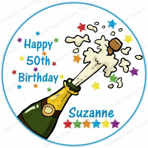 Personalised Champagne Cork Pop Edible Icing Birthday Anniversary Cake Topper