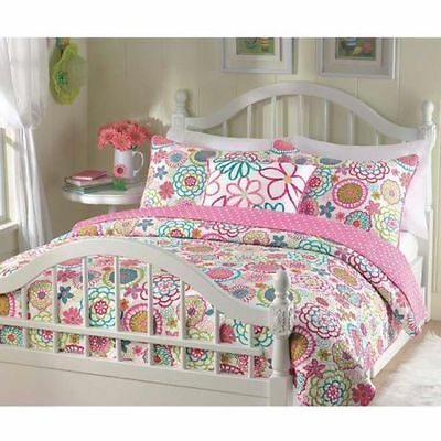 BEAUTIFUL PINK BLUE WHITE TEAL PURPLE GREEN POLKA DOTS GIRL FLOWER QUILT SET NEW