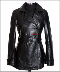 Smart Jacket Real Black Leather Lambskin Felicia Coat Ladies New Casual Trench CtSnUqw