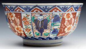 SUPERB ANTIQUE JAPANESE MEIJI IMARI PATTERNED FIGURAL PORCELAIN BOWL 19TH C.