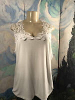 Joan Boyce Xl White Lace Detail Neckline Viscose Blend Sleeveless Tunic Top