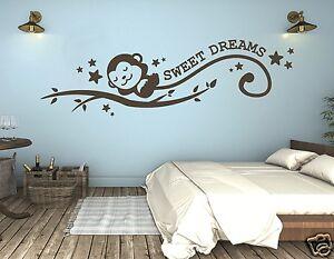 Wandtattoo Kinderzimmer Affe schlafendes Äffchen Sweet Dreams süße ...