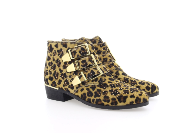Bronx ankle Boots Leopard Pony Studded gold Buckle UK 7 EU 40 New & Boxed