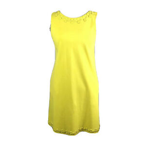 J-Crew-Women-Dress-Sz-Small-Yellow-Shift-Jewels-Trim-Sleeveless-Stretch