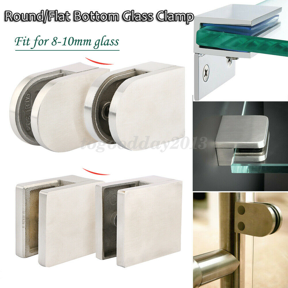 304 Stainless Steel Flat Round Glass Clamp Holder Bracket for Balustrade 8-10mm