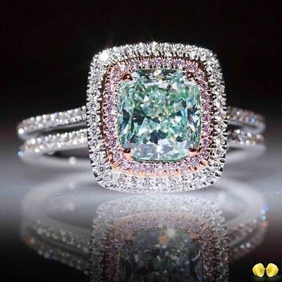 Elegant 925 Silver Prehnite /& White Topaz Ring Wedding Engagement Jewelry Sz6-10