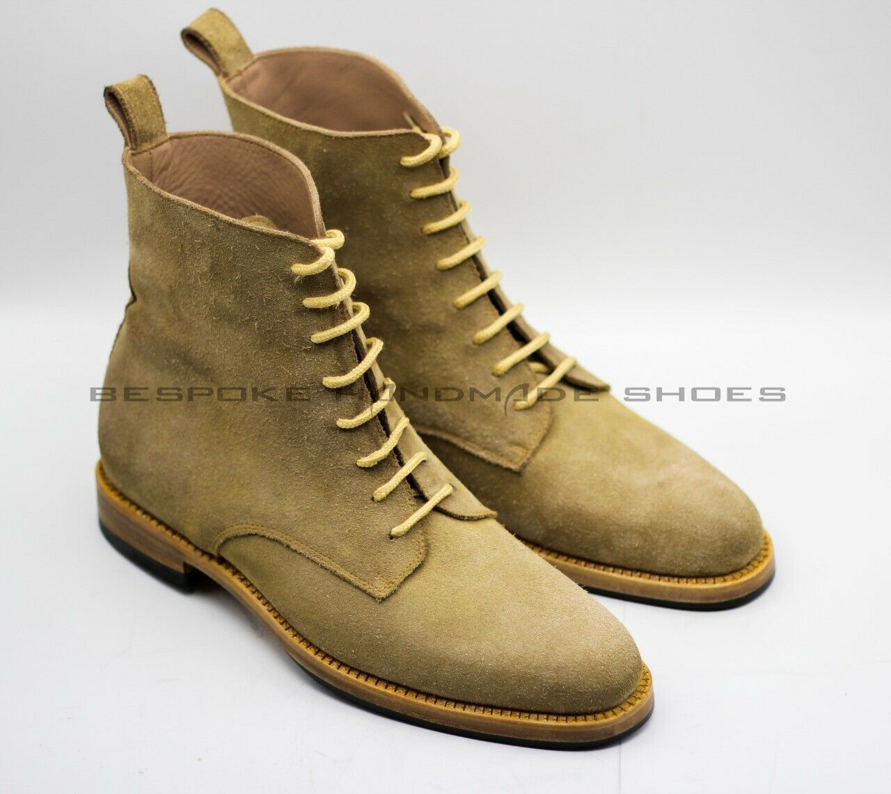 Handmade Men's Genuine Camel Beige Suede Lace-Up Ankle Casual Boots