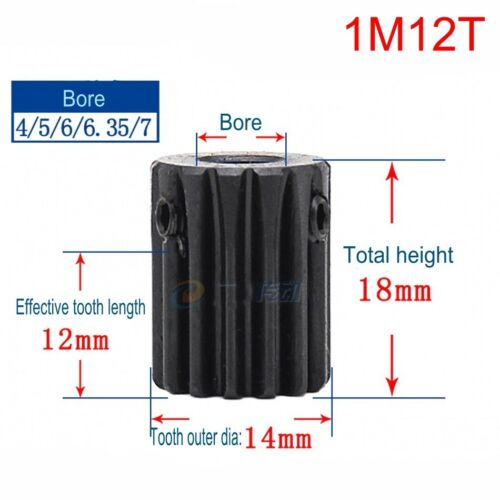 Steel Spur Moteur Pignon Gear 1Mod 10T//1Mod 12T//1M14T Alésage 4//5//6//6.35//7mm X 1Pcs