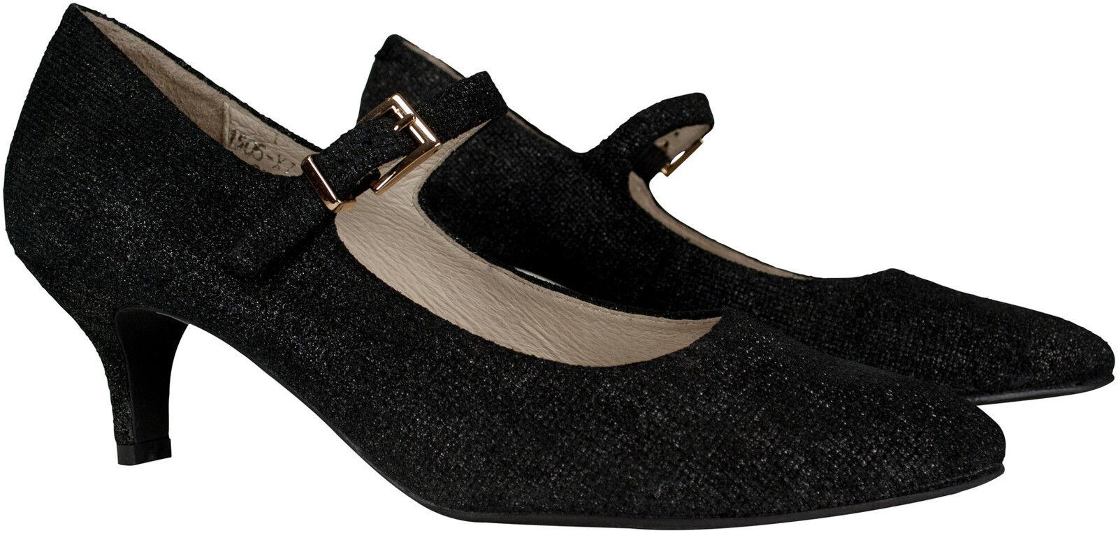 Bride Escarpins Noir Metallic Chèvres Cuir kitten heels collection Raide taille 37