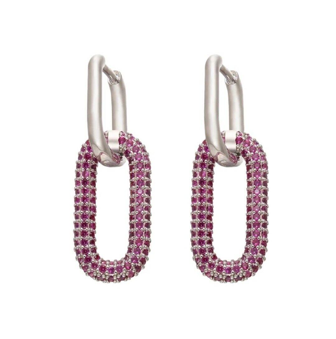 -we❤- High End Drop Link Hoop Earrings Silver and Pink Colour Monaco zara style