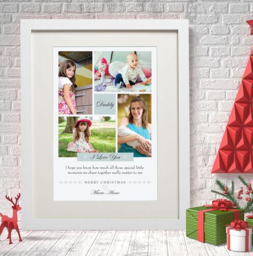 Personalised Daddy Xmas Photo Print Mummy Dad Mum I Love You Collage Wall Art