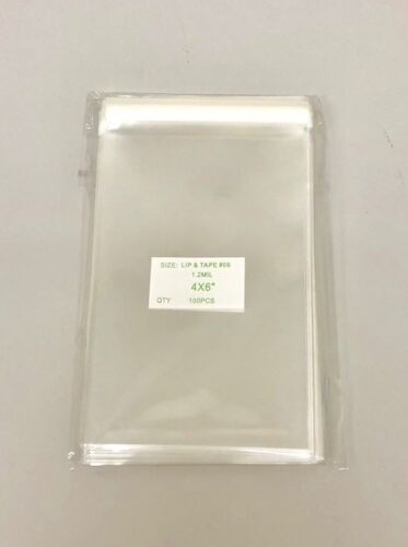 """100 Super Clear 4/""""x 6/"""" Food Safe Lip and Tape Bags 1.2 Mil"""