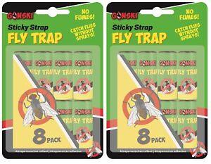 16-X-Gonski-Fliegen-Insekt-Klebend-Bug-Wespen-Gift-Gratis-Papier-Fallen-Fanger