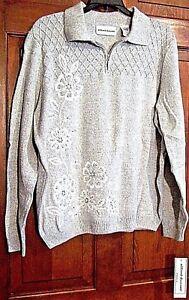 Gray grande W Alfred e Sweater metallizzato argento Fiori Dunner Womens taglia ZRHqEn