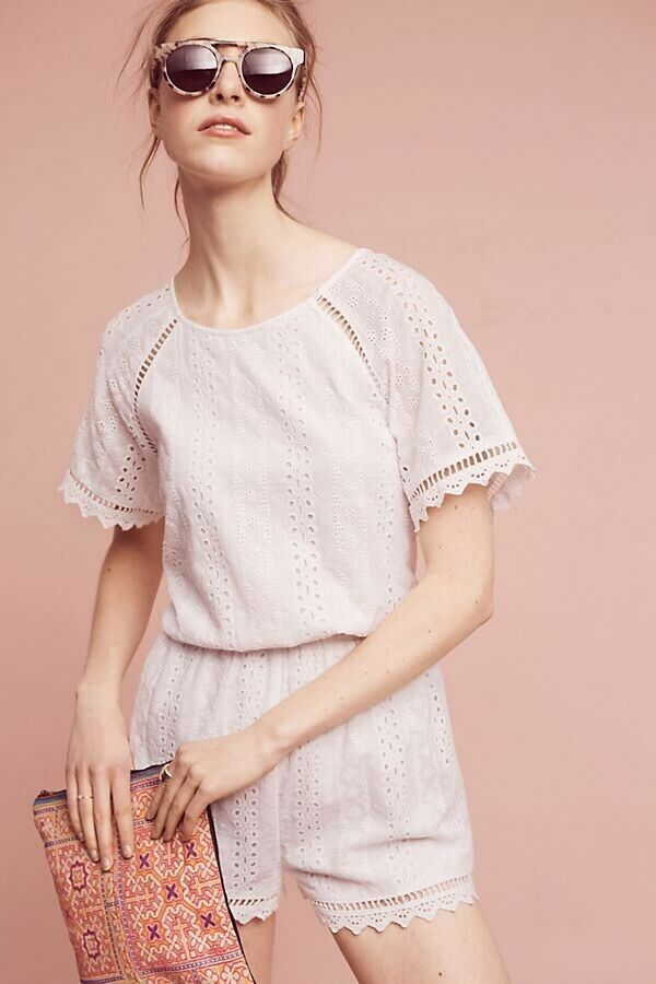 NEW Anthropologie Eyelet Cutout Romper By Elevenses White Lace Trim Size Sz L