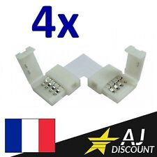 "4x Connecteur Angle Droit ""L"" 90° pour ruban led - RGB 5050 strip 4 broches"