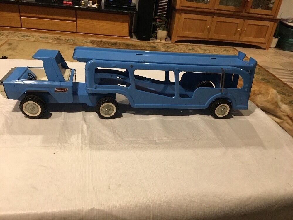 RARE BUDDY L 27  Pressé Acier Bleu Auto transporté Voiture Transporteur Great condition