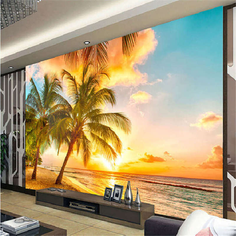 Sunset Clouds Plam Tree Full Wall Mural Photo Wallpaper Print 3D Decor Kid Home