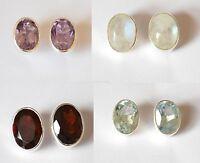 925 Silver Oval Stud Earrings: Moonstone, Amethyst, Garnet, Blue Topaz