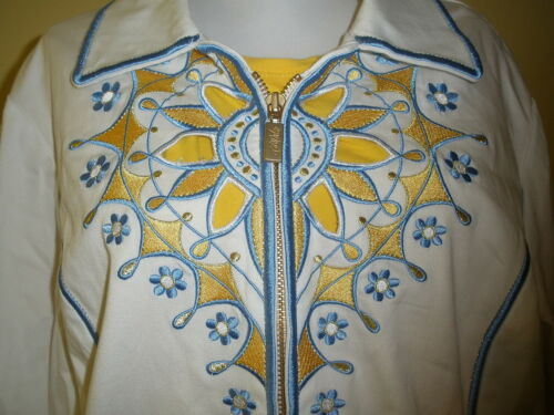 Wearable giacca Mackie Art tagliata ricamo 2 giallo blu Bob Xl pezzi bianco xIztgt