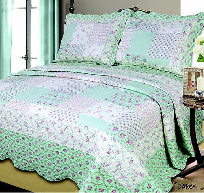 QUILTED DOUBLE KING PATCHWORK EMBROIDERED 3 PIECE BEDSPREAD SET 100% COTTON NEW