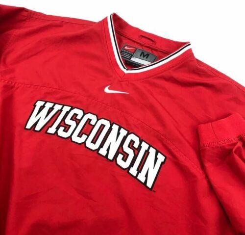 Vintage Nike Wisconsin Badgers V Neck Windbreaker