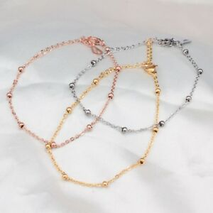 Fashion-Women-Stainless-Steel-Anklets-Smooth-Bead-Chain-Ankle-Bracelet
