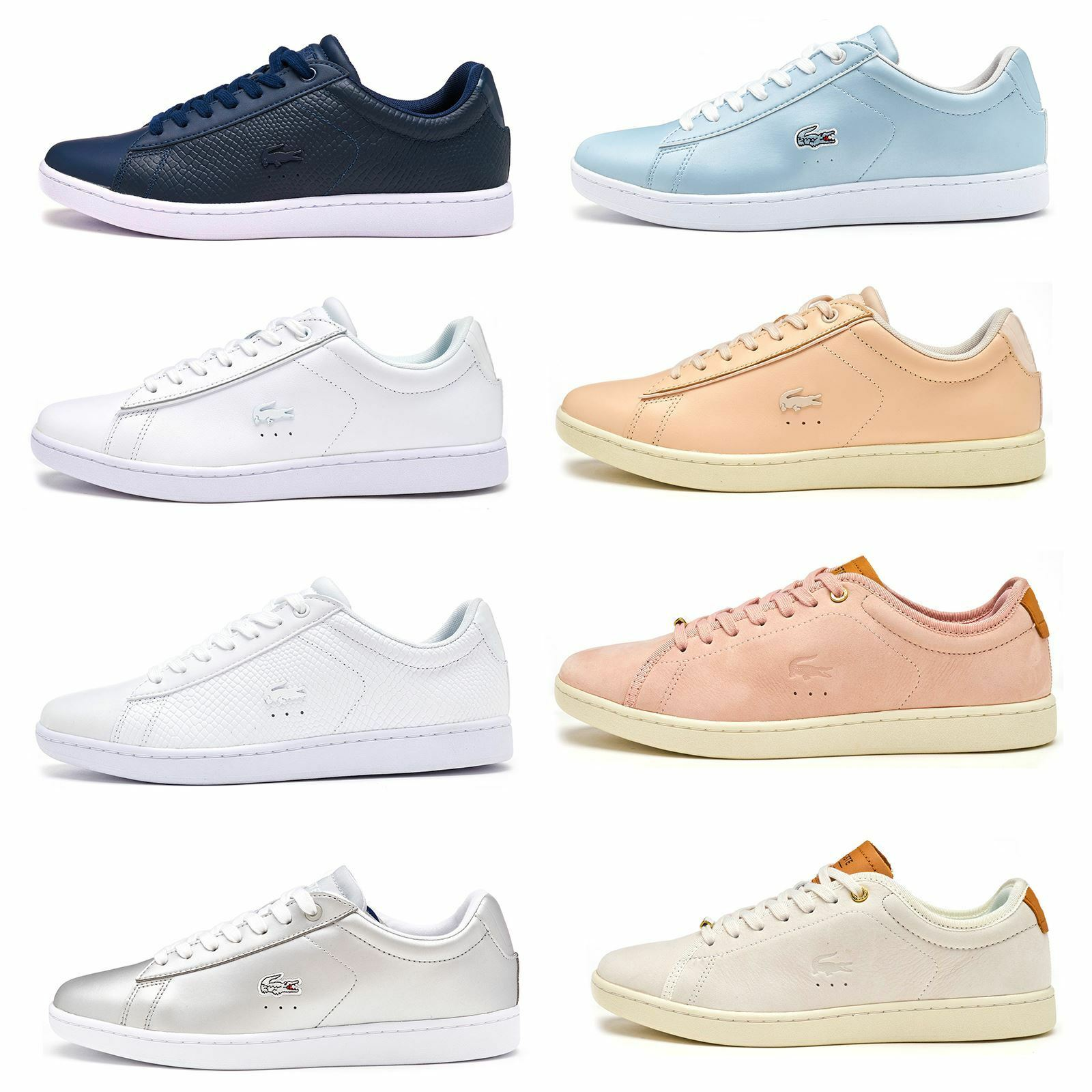 Lacoste Carnaby EVO 117 3 SPW Leder Damens Trainers in Grau & Pink 733SPW1012