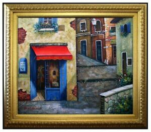 Framed-Quality-Hand-Painted-Oil-Painting-Osteria-Del-Gallo-Storefront-20x24in