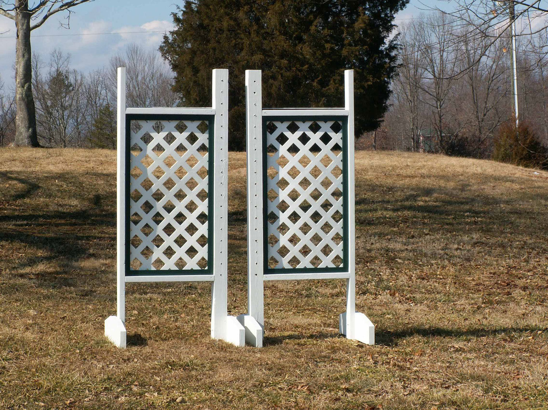 Horse Jumps  Solid Lattice Panel Wood Wing Standards Pair 6ft - Trim color  zero profit