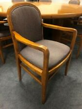6 Oak Fabric Conference Or Reception Chairs