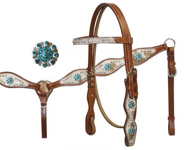 Showman Leather  Hair on Cowhide Bridle & Breast collar Set w  TEAL Rhinestones   cheap designer brands