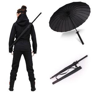 Japanese-Katana-Windproof-Black-Warrior-Umbrella-Samurai-Sword-Handle-Strap-Fold