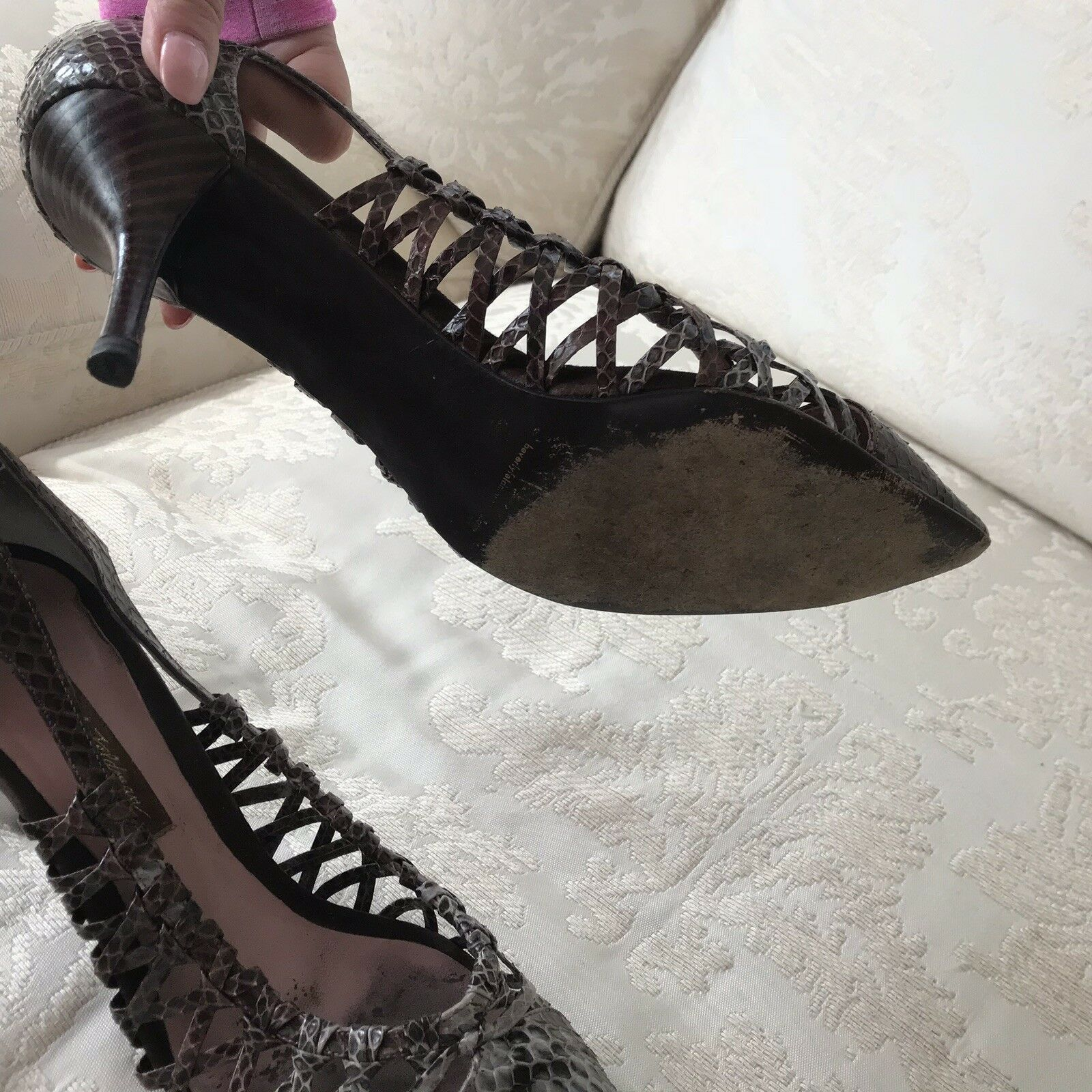 Beverly Feldman Snakeskin Snakeskin Snakeskin Leather Pumps schuhe Pointed Heels 11 M 11M 25ba96