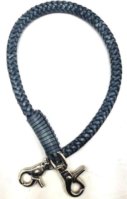 Biker chain grey braided leather Gray Heavy Duty Trucker wallets made in USA