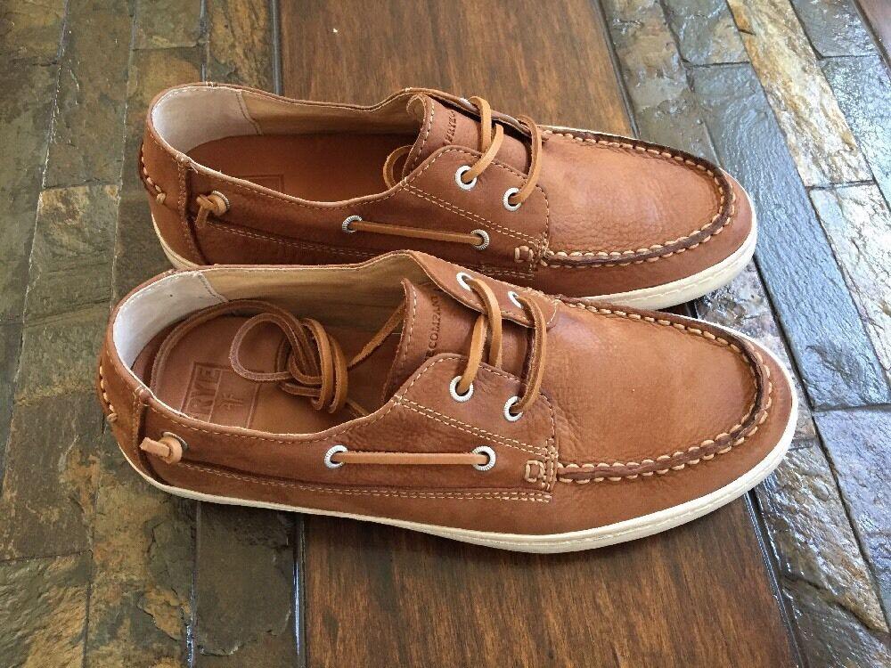 FRYE Men's NEW Norfolk MOC Boat Shoes Lace-Up Cognac size 9.5 178
