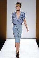 MAX MARA Blue Cotton/Silk/Jersey Runway Dress,size 10 USA,12 GB,40 D,44 I, 42 F
