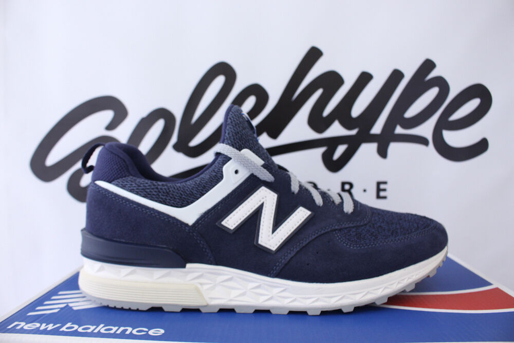 NEW BALANCE 574 SPORT DEEP SEA blueE SUEDE NAVY OFF WHITE 574S MS574BB SZ 9